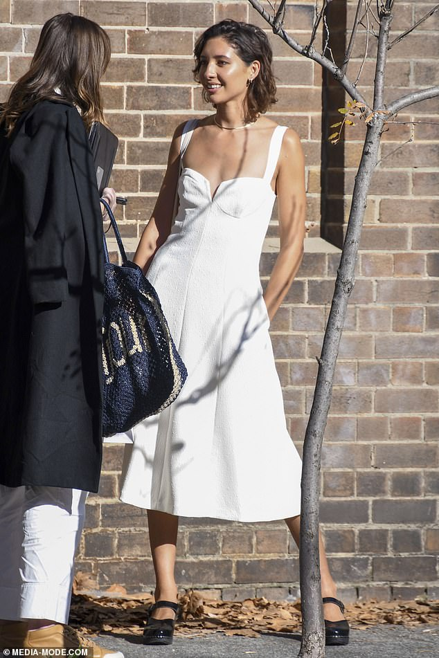 Details: She paired her frock with black heeled sandals, styled her cropped brunette hair loosely, and accessorised with a gold chain necklace