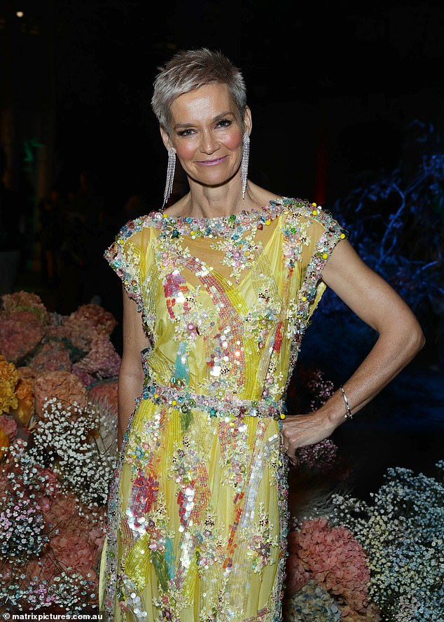 Bright:Also making an appearance was Jessica Rowe (pictured) who turned heads in a heavily embroidered, yellow gown with sheer panels
