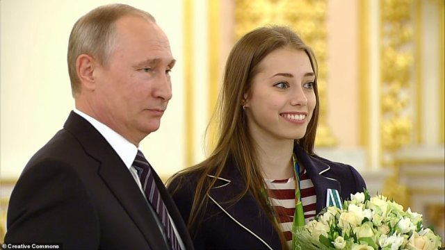 VeraBiriukova meets Russian President Vladimir Putin after winning gold in rhythmic gymnastics at the 2016 games in Rio de Janeiro, Brazil