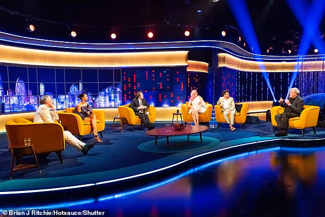 Chat among yourselves: The presenter has racked up a roster of hundreds of famous guests on his various TV and radio chat shows [pictured during the current series of The Jonathan Ross Show]