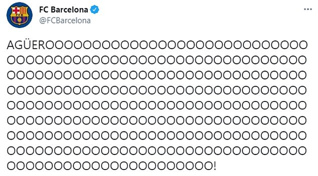 Barcelona's Twitter account was clearly excited by the Argentine's arrival by posting the above
