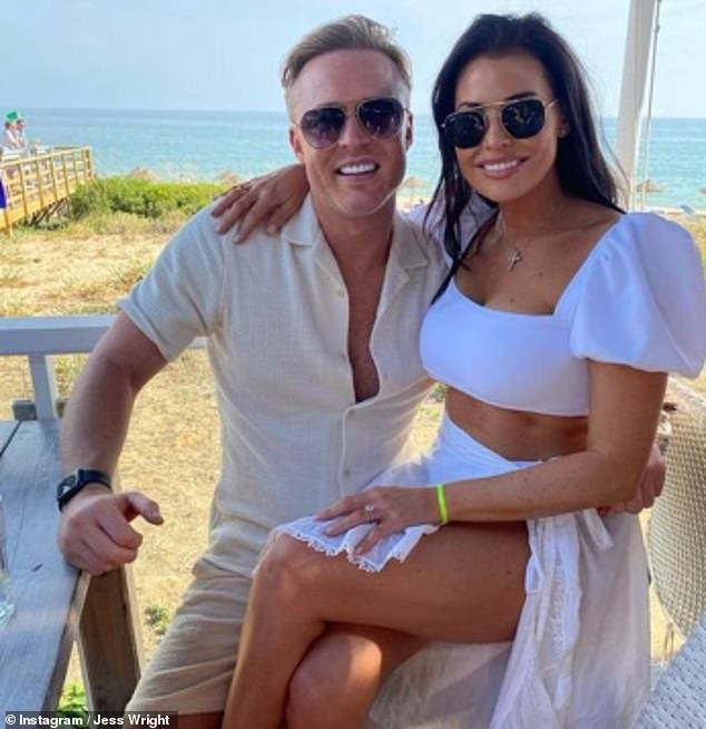 Loved-up: Jessica Wright, 35, and fiancé William Lee-Kemp, 38, jetted abroad on what would have been their wedding break, after the couple were forced to postpone their date