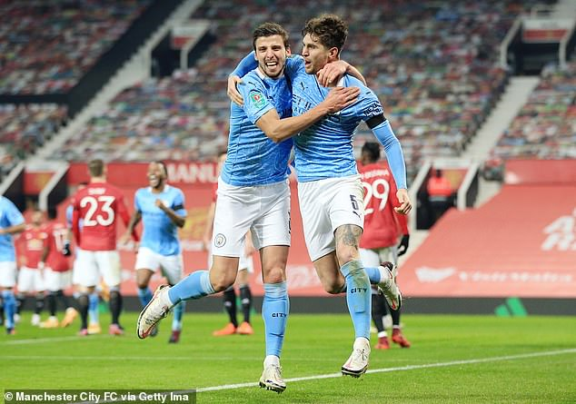 Ramos would compete with John Stones (right) and Ruben Dias (left) at centre-back