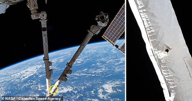 In May this year, a robotic arm attached to the outside of the International Space Station was hit with space junk and visibly damaged, according to the Canadian Space Agency