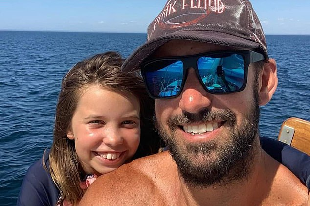 Glenn Anderson, 41, and his young daughter Ruby, 11, (pictured) were thrown from their yacht while sailing from Rottnest Island to Sandy Cape on Sunday