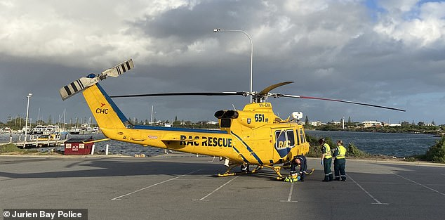 Jurien Bay police, an Australian Maritime Safety Authority jet and the RAC Rescue helicopter (pictured) were involved in rescue effort