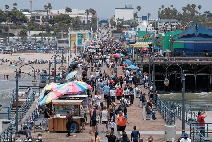 Santa Monica, California: The beach at Santa Monica was crowded with people on Monday