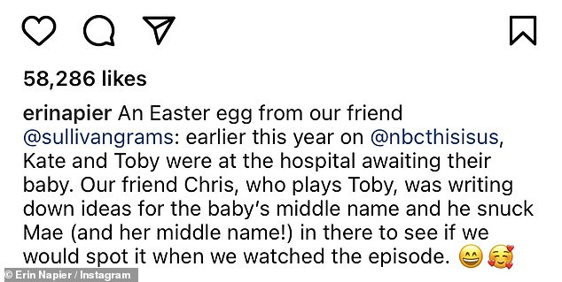 Not yet revealed:And as stated in her caption Mae's middle name also appeared on that same list, which sent fans into a tizzy trying to guess the chosen moniker