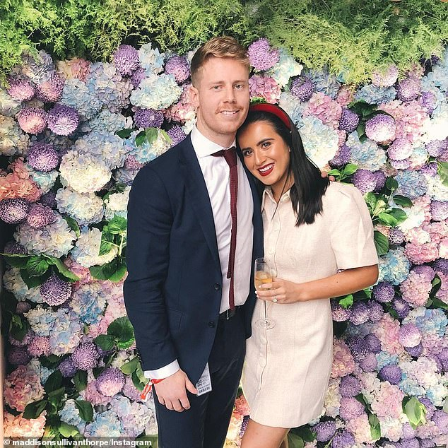 Maddie Sullivan-Thorpe, the fiancée of Western Bulldogs midfielder Lachie Hunter (pictured together), visited the Port Melbourne post store on Monday and attempted to log her visit via the official contact tracing app