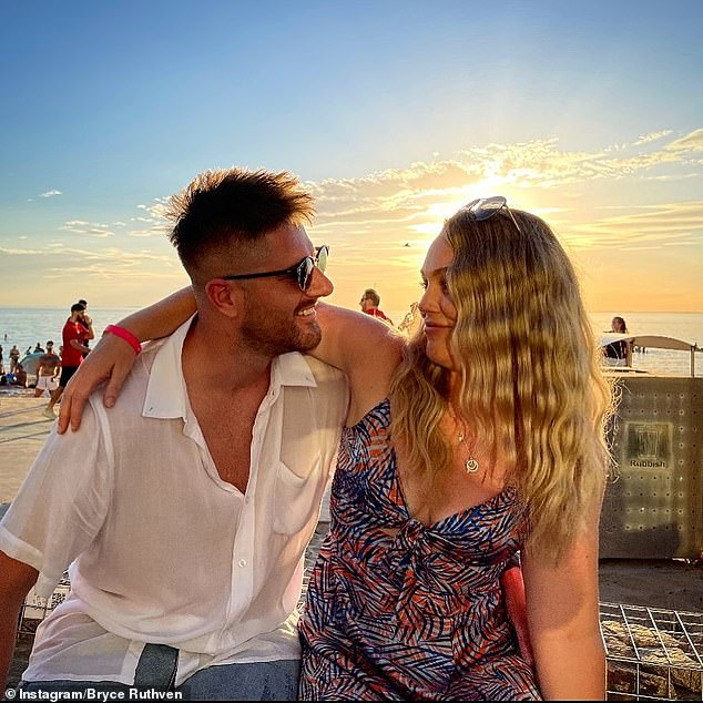 How embarrassing! Married At First Sight's Bryce Ruthven, 31, is caught paying to promote his own sponsored posts. Pictured with his girlfriend and co-star Melissa Rawson, also 31