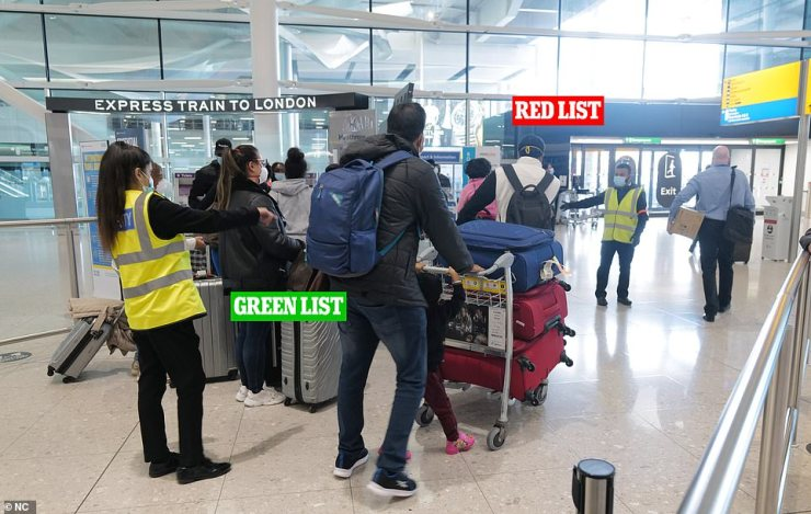 Previously, those arriving from 43 high-risk countries - such as India , Brazil and South Africa - were mixing with others from lower-risk amber and green nations (pictured last month) in airport queues sparking outrage