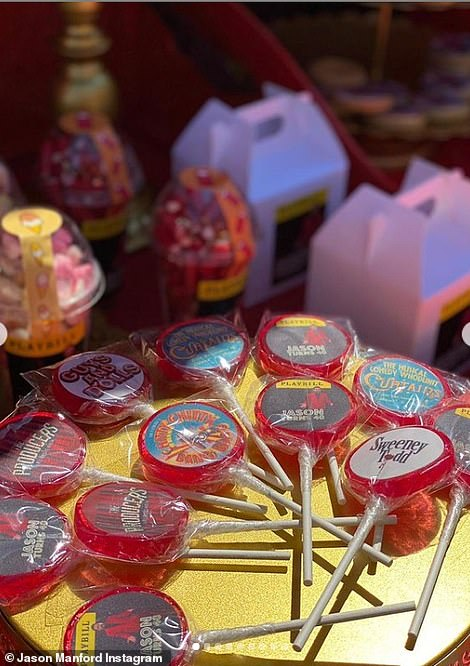 Thoughtful: Lollypops were adorned with posters of productions Jason has featured in such as Chitty Chitty Bang Bang, Guys and Dolls and Sweeney Todd