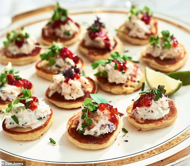 These deliciousCornish crab & creme fraiche lemon blinis are best served with lime wedges for squeezing over