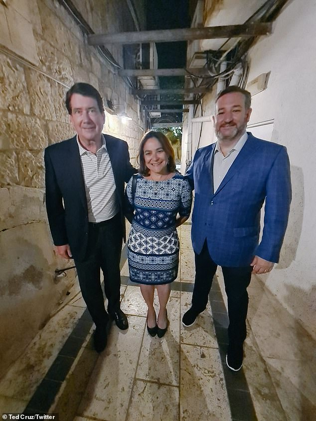 Israel Columnist Caroline Glick (center) posted this photo after a dinner in Israel with Cruz (right) and Hagerty (left)