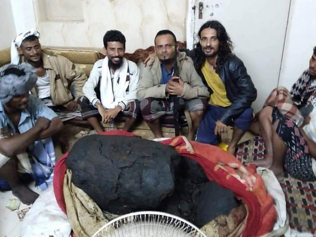 Thirty-five fishermen in al-Khaisah, Yemen, were lifted out of poverty after unexpectedly finding £1.1million worth of whale vomit (pictured) in the carcass of a sperm whale