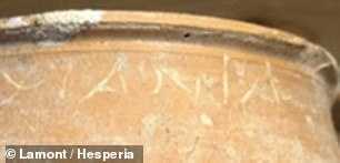 A name carved prominent near the rim of the jar reads 'Μανία' and likely refers to the famous courtesan of that name who belonged to the harem of Demetrios Poliorketes of Macedonia