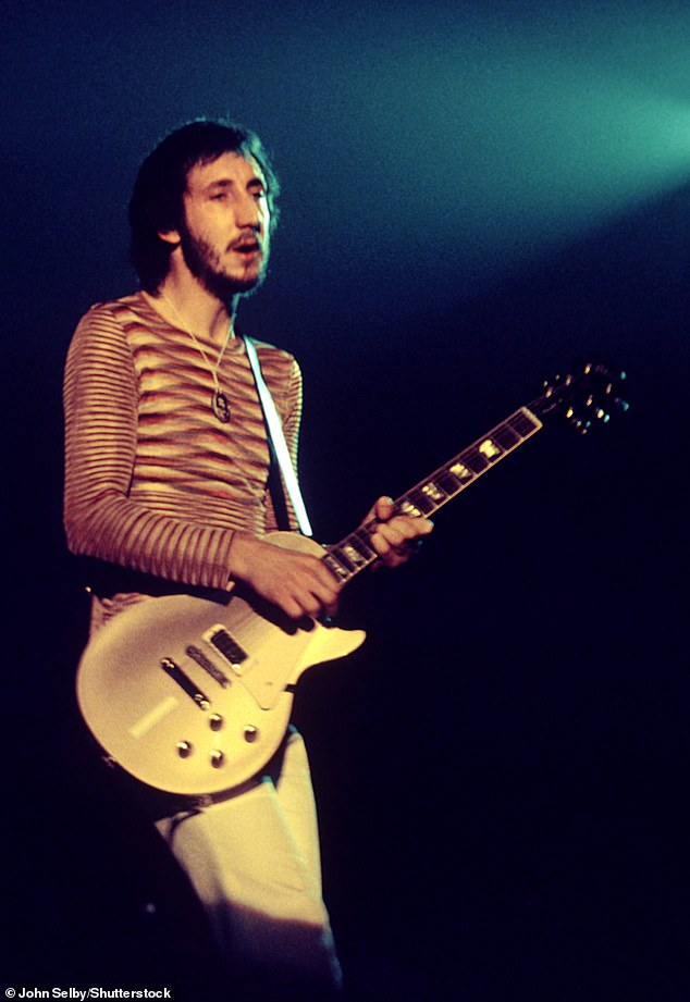 Back in the day: Pete, seen here in 1975, has written many songs for rock band The Who