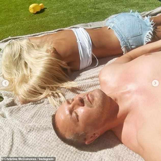 Sunbathing:She gave her 541,000 followers on Instagram a glimpse into how she was spending her Sunday, with some fun in the garden with her family