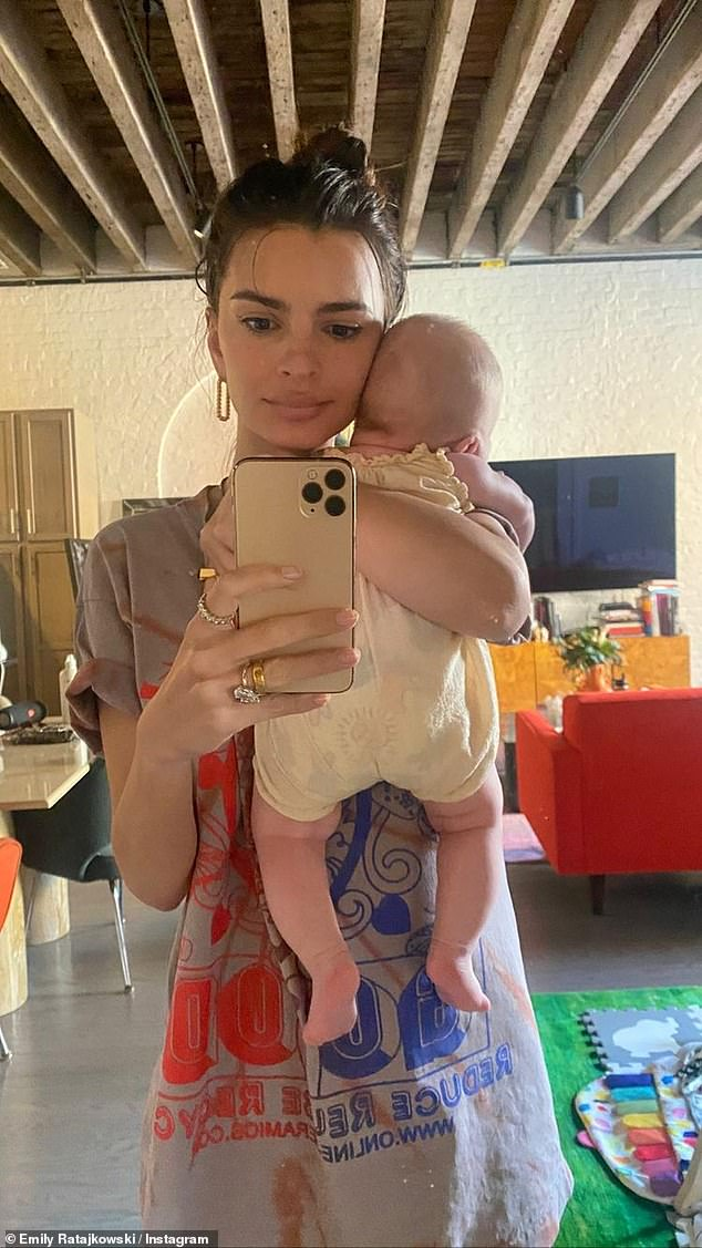 Bundle of joy: Ratajkowski has been showering her Instagram account with images of the newest member of her family