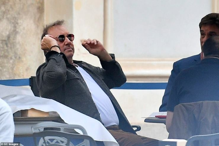 Spacey kept a low profile by donning sunglasses but still caught the attention of photographers on Tuesday