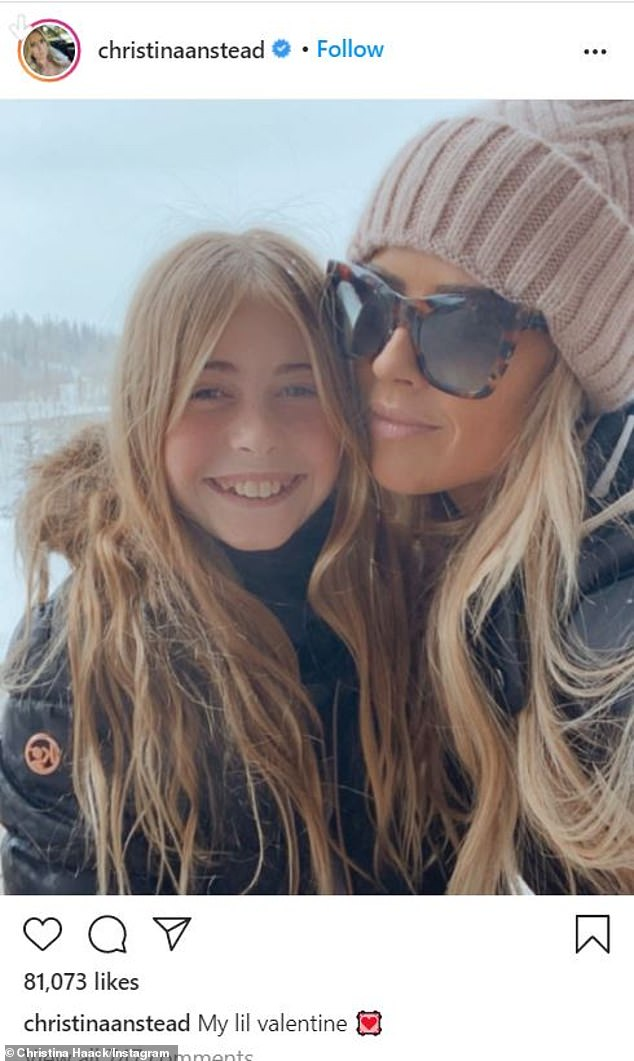 Her mini me little girl: Christina with her daughter Taylor, 10, earlier this year