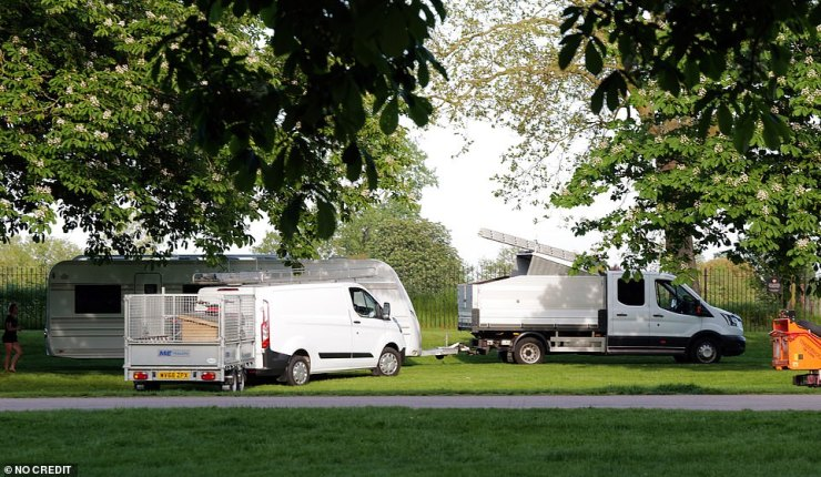 The group was made up of up to 30 caravans and motorhomes according to those at Windsor Great Park on Tuesday
