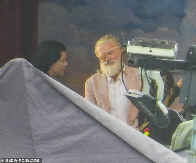 On-set: Sam is pictured here filming the movie at Little Bay in Sydney with Director Taika Waititi back in March