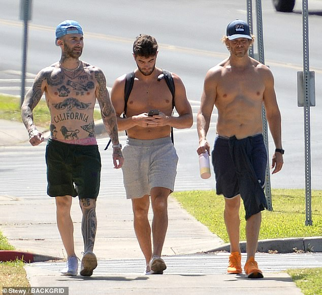 Chiseled pecs: Maroon 5 frontman Adam Levine showed off his famous tattoos as he and NCIS: LA star Eric Christian Olsen, right, strolled shirtless in Maui on Tuesday accompanied by a personal trainer
