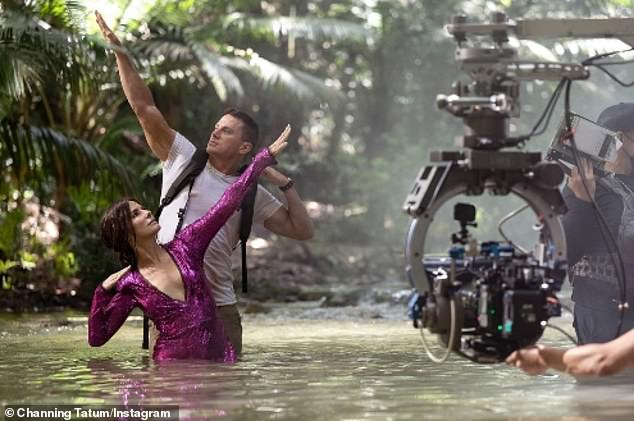 'This is no fun...no fun at all!'Pitt recently shot a cameo on the Dominican Republic set of Aaron + Adam Nee's 2022 action rom-com Lost City of D starring Channing Tatum (M) and Sandra Bullock (L)