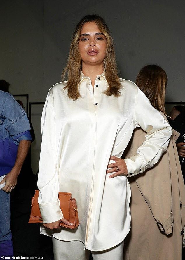 Strike a pose! Samantha Harrislooked stylish and stunning at Afterpay Australian Fashion Week on Wednesday