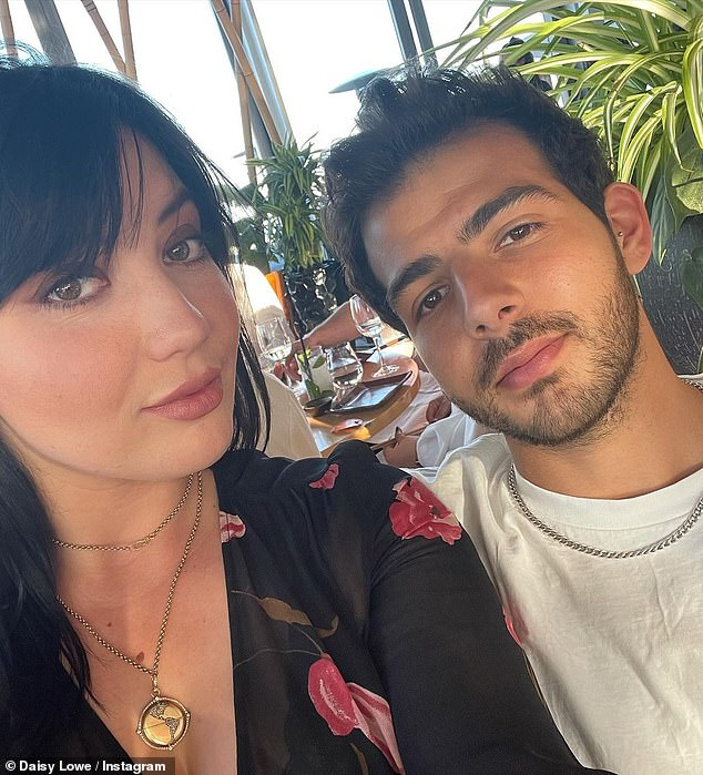Just the two of us:Daisy Lowe brushed aside the drama as she cosied up to her boyfriend Jordan Saul during dinner at London's Sushi Samba restaurant on Tuesday