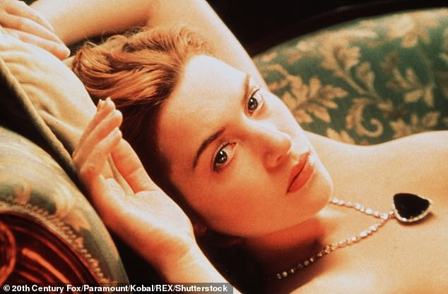 Image:Kate starred in arguably one of cinema's most iconic nude scenes of all time in 1997's Titanic while playing Rose, where she reclined on a sofa and asked love interest Jack - played by Leonardo DiCaprio - to 'paint her like one of his French girls' (pictured in still)