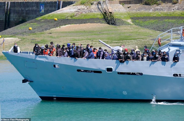 Figures have not yet been confirmed but witnesses estimate as many as 200 people were brought in to Dover yesterday