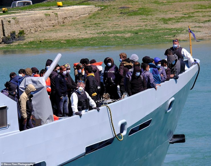 As many as 200 people were brought in to Dover Marina aboard a Border Force cutter at around noon yesterday