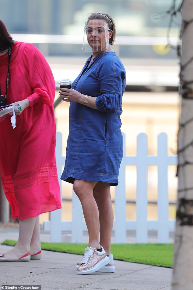 Casual:Lisa Armstrong was back at work as she filmed a segment for Channel 4's Steph's Packed Lunch at Leeds Dock on Wednesday