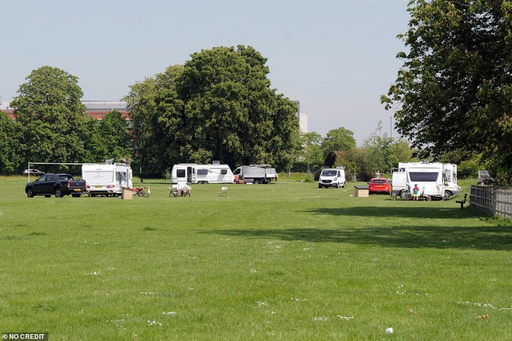 Caravans are set up in Dedworth. The scene in the field today -