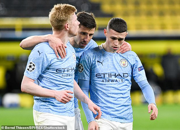 Kevin De Bruyne, Ruben Dias and Phil Foden (left to right) represent title-winners City