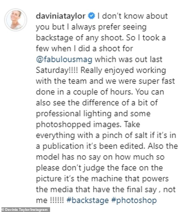 Message:Captioning the post, Davinia highlighted the difference professional lighting and Photoshop can make to images as she also shared the finished snaps from the shoot, while reminding fans to take 'everything with a pinch of salt'