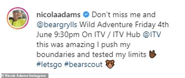 Trip of a lifetime:Nicola also shared the same images to her Instagram, where she revealed that the 'amazing' adventure pushed her limits and tested her boundaries