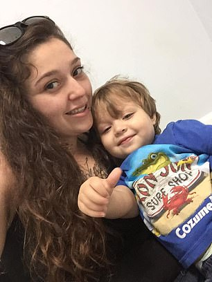 Sarah Olson, Samuel's birth mother (pictured together), said through a lawyer that she had primary custody of the boy but had not seen him since January 2020