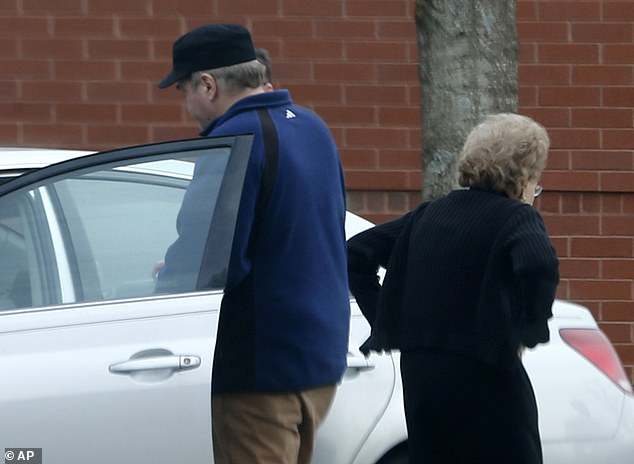 He spent decades living at a psychiatric hospital before gradually spending more and more time with his mother in Williamsburg, Virginia, moving in with her permanently in 2016. Pictured: John Hinckley gets into his mother's car in front of a recreation center in Williamsburg, Virginia, on March 19, 2015