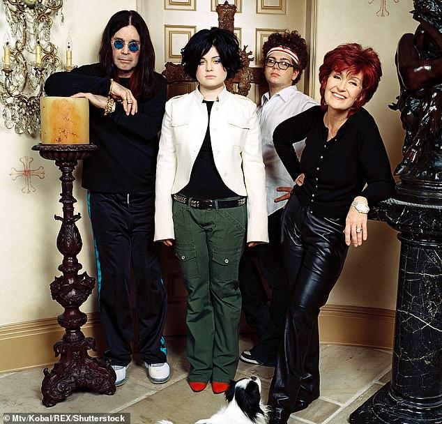 The gang: from left, Ozzy Osbourne, Kelly Osbourne, Jack Osbourne, Sharon Osbourne on The Osbournes in 2002; she was 17 in this image