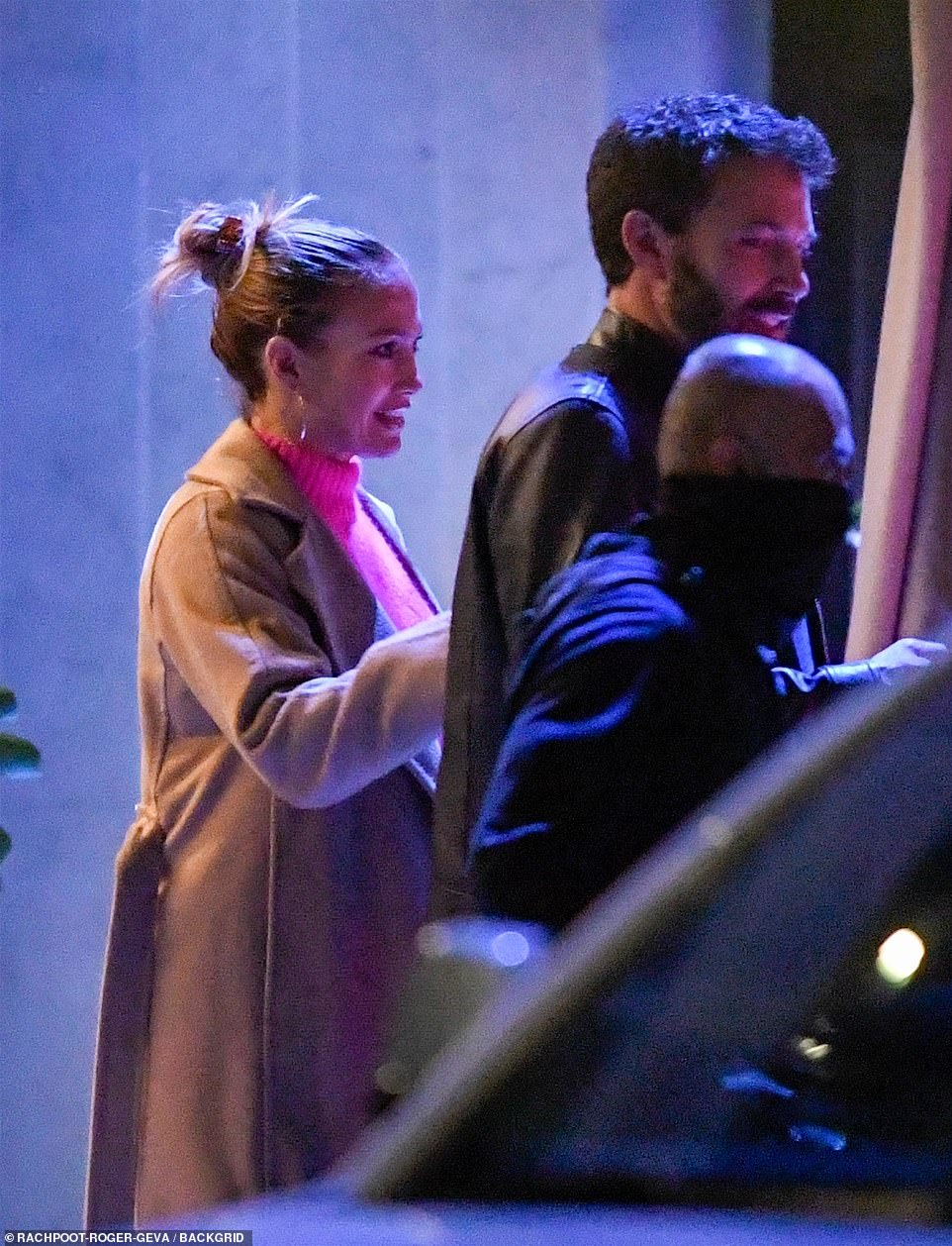 Classic: She wore her highlighted strands in a stylish messy bun and accentuated her naturally beautiful features with a strategic amount of makeup