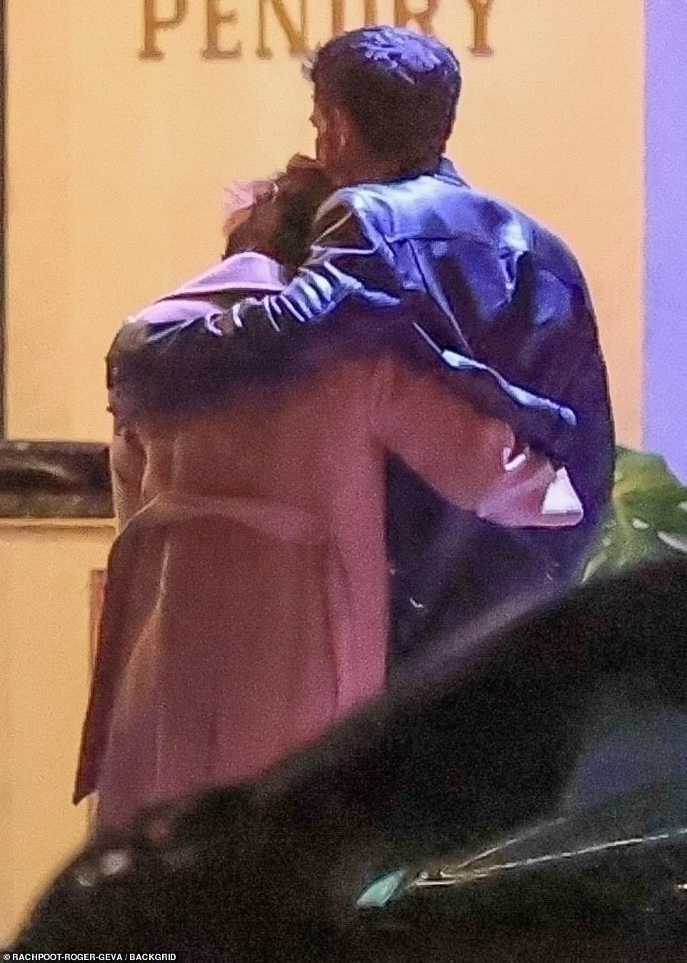 Just the two of us: Almost as soon as they stepped out of the car, their arms were intertwined together