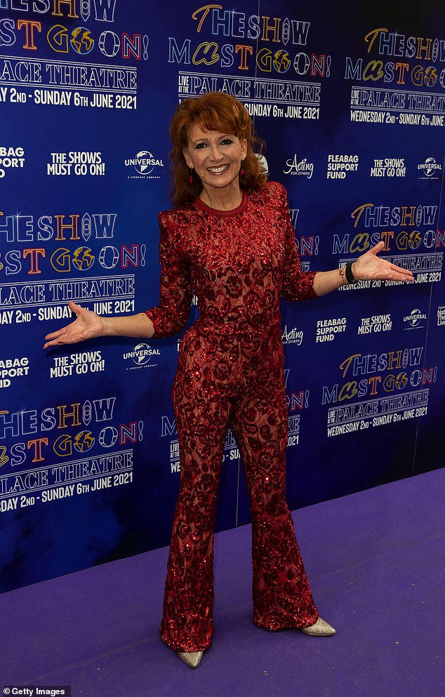 The Show Must Go On! On Wednesday evening, Bonnie Langford, 56, dazzled in a red sequin jumpsuit as she posed on the purple carpet at the press night for The Show Must Go On !