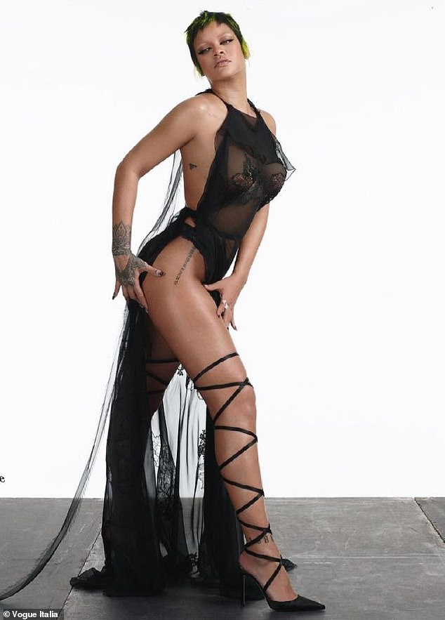 Showstopper:Rihanna sure knows how to promote her Savage x Fenty lingerie line. The Diamonds singer made the most of her very own designs for the cover of Vogue Italy this week. The looker, 33, wore pasties and undies with strappy heels in a photo she styled and took herself