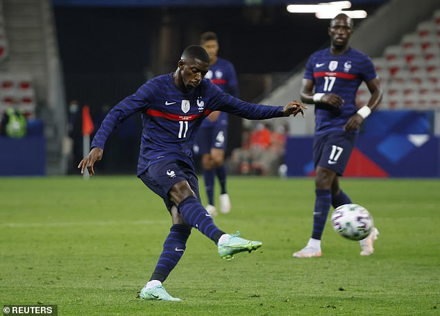 Substitute Ousmane Dembele struck France's third goal after Benzema had hit the post