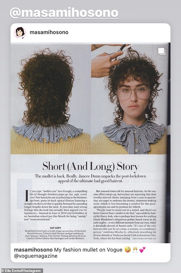 'I'm really drawn to that almost ugly-chic look': On Wednesday, Emhoff weighed in on the mullet going mainstream after getting her curly locks coiffed by Vacancy Project gender-neutral salon owner Masami Hosono