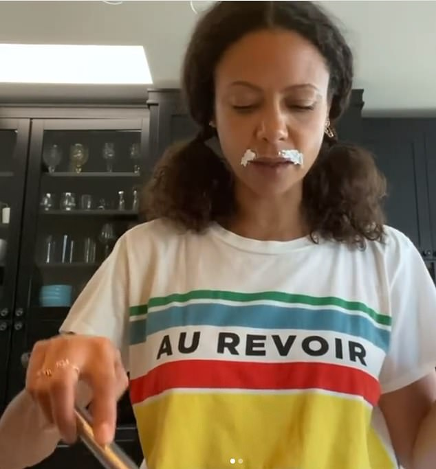 Thandiwe Newton shared a video of herself cooking in her North-West London kitchen while applying a cosmetic treatment to her upper lip