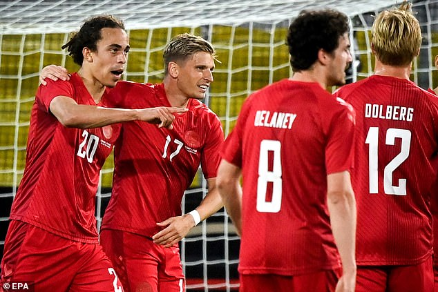 The 26-year-old forward was congratulated by his team-mates after levelling the scoreline
